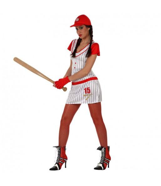 Travestimento Giocatrice di béisbol donna per divertirsi e fare festa