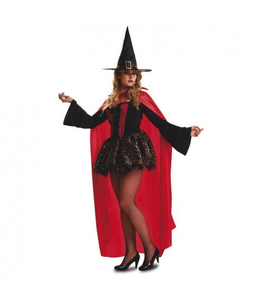 Costume Strega con mantello rosso donna per una serata ad Halloween