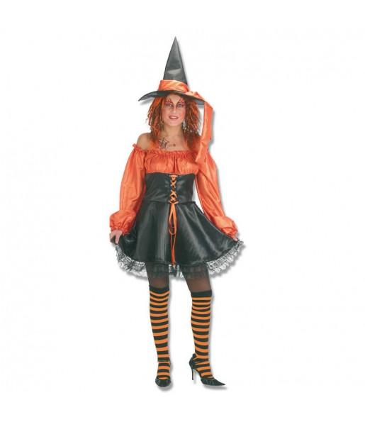 Costume Strega arancione donna per una serata ad Halloween