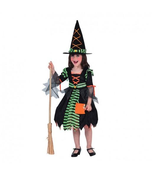 Vestito Strega Verde bambine per una festa ad Halloween