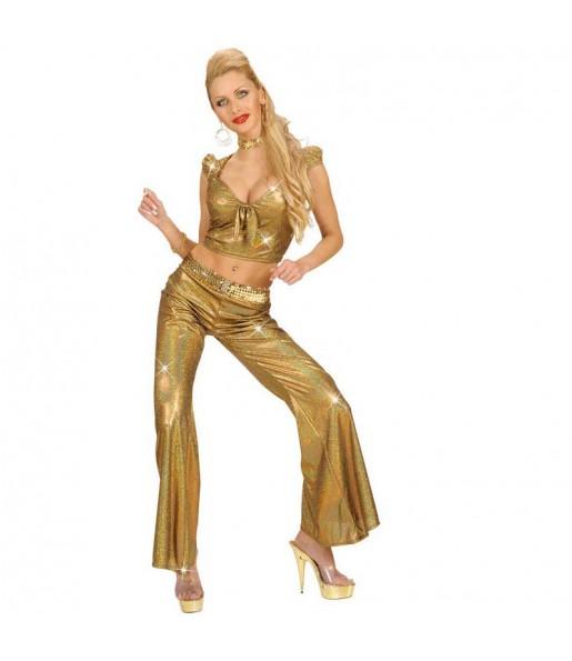 Travestimento Top Olografico Oro donna per divertirsi e fare festa