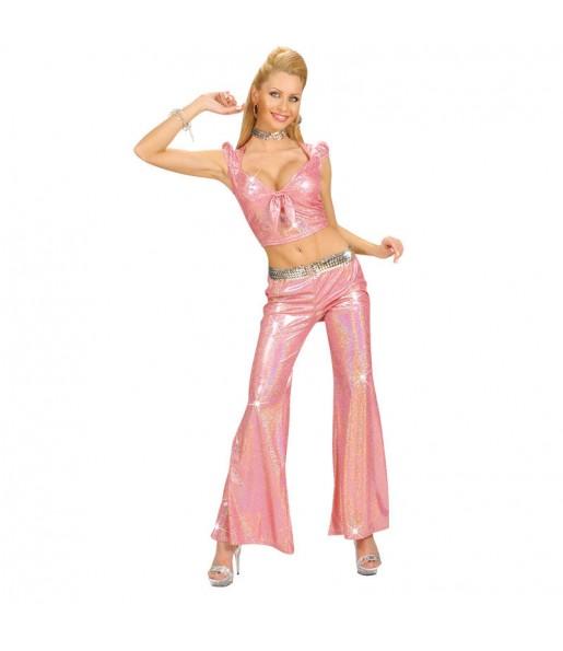 Travestimento Pantaloni Olografico Rosa donna per divertirsi e fare festa