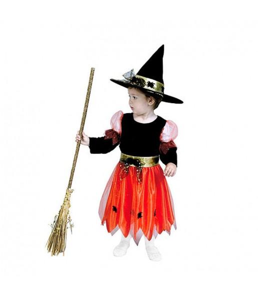 Vestito Streghetta arancione bambine per una festa ad Halloween