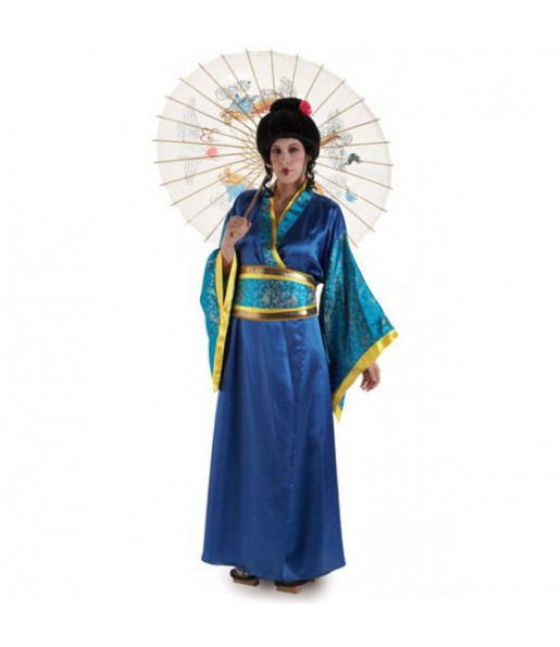 Travestimento Geisha Blu donna per divertirsi e fare festa