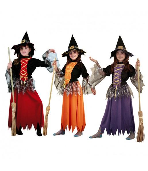 Vestito Strega colorata bambine per una festa ad Halloween