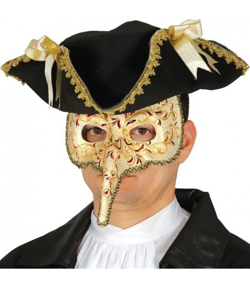 Maschera veneziana con becco per poter completare il tuo costume Halloween e Carnevale