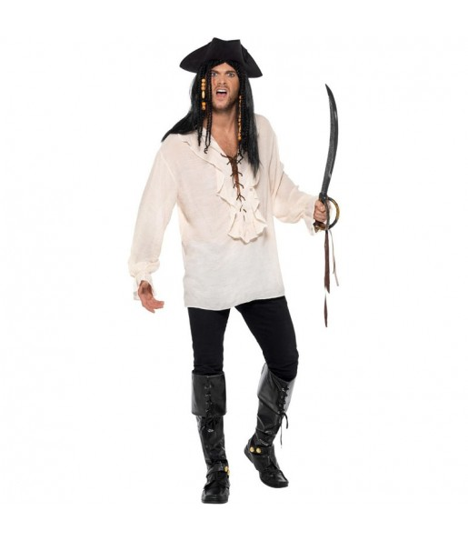 Travestimento Camicia da Pirata Avorio adulti per una serata in maschera