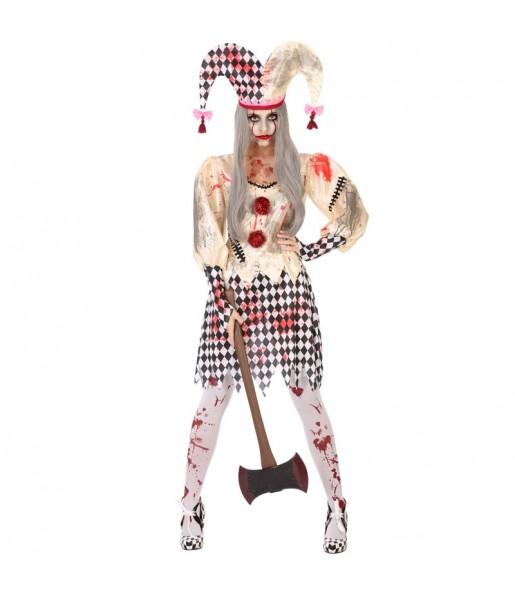 Costume Arlecchina insanguinata donna per una serata ad Halloween