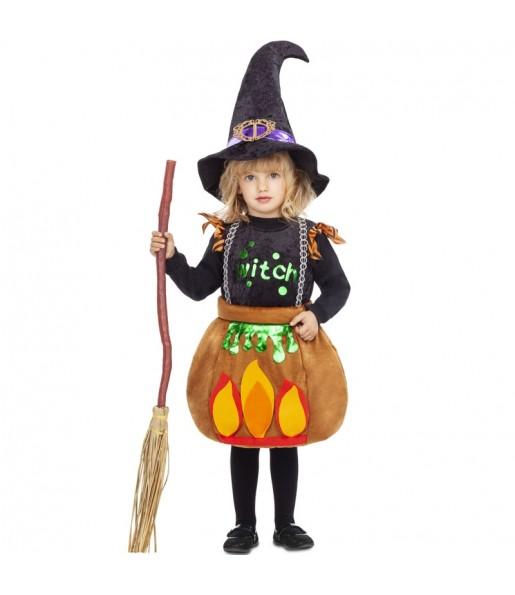 Vestito Strega calderone bambine per una festa ad Halloween