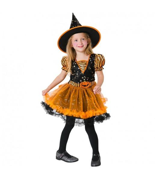Vestito Strega magica arancione bambine per una festa ad Halloween