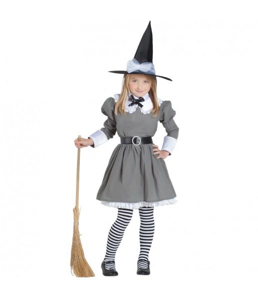 Vestito Strega Grigia bambine per una festa ad Halloween.