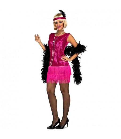 Travestimento Charleston Fucsia donna per divertirsi e fare festa