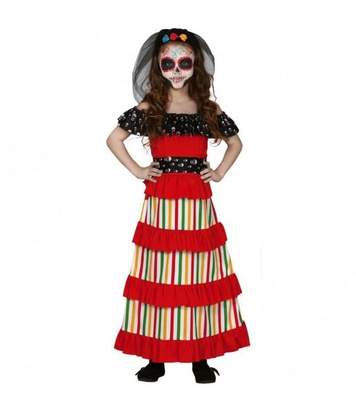 Vestito Scheletro del giorno dei morti bambine per una festa ad Halloween