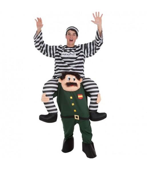 Travestimento adulto Carcerato su Guardia Civile a cavallucio per una serata in maschera