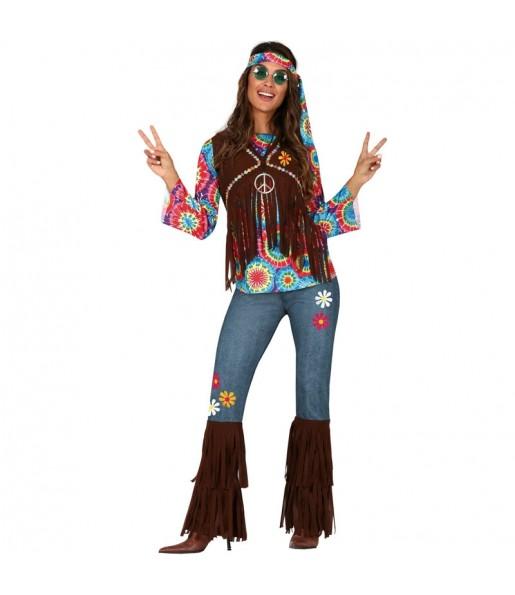 Travestimento Hippie di Woodstock donna per divertirsi e fare festa