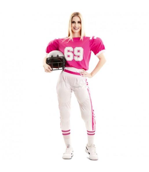 Costume da Giocatrice di rugby rosa per donna