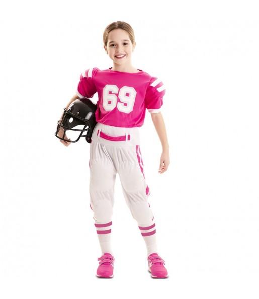 Costume da Football americano rosa per bambina