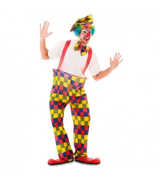 Travestimento Clown con bretelle adulti per una serata in maschera