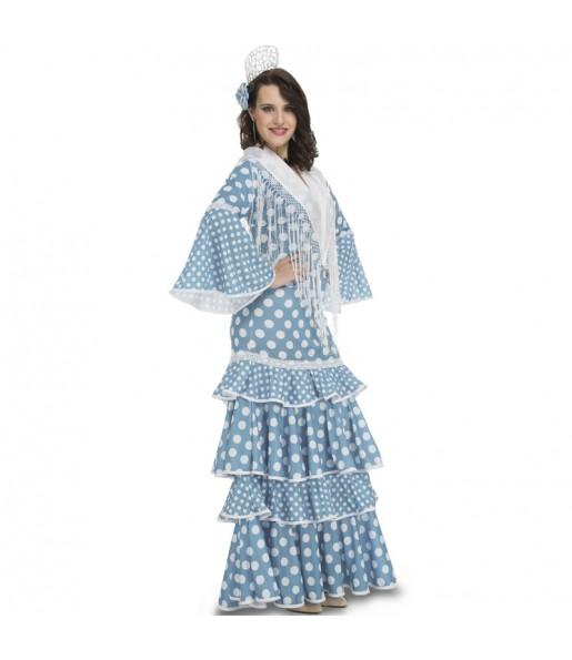 Travestimento Flamenca Azzurro donna per divertirsi e fare festa