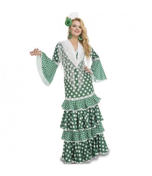 Travestimento Flamenca verde donna per divertirsi e fare festa