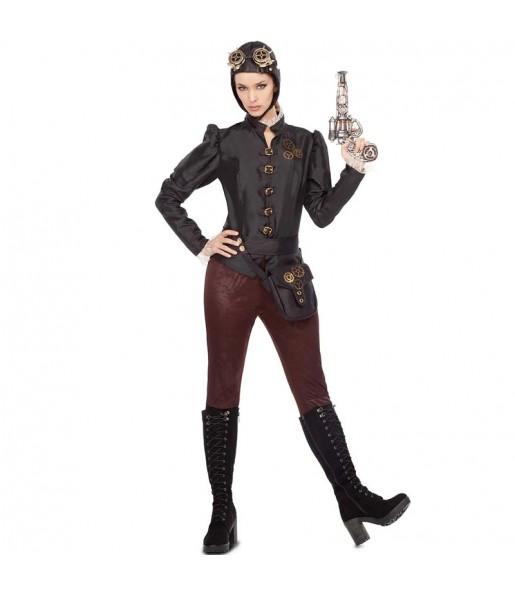 Travestimento Aviatrice Steampunk donna per divertirsi e fare festa