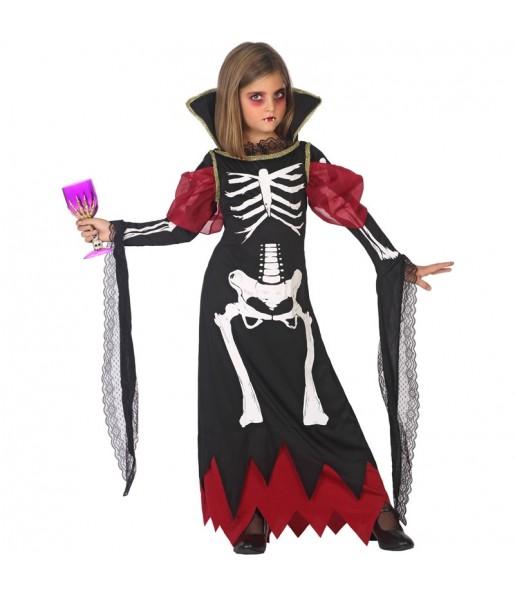 Vestito Vampira scheletro bambine per una festa ad Halloween