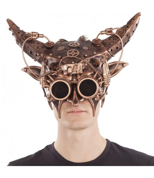 Maschera Steampunk con corna per poter completare il tuo costume Halloween e Carnevale
