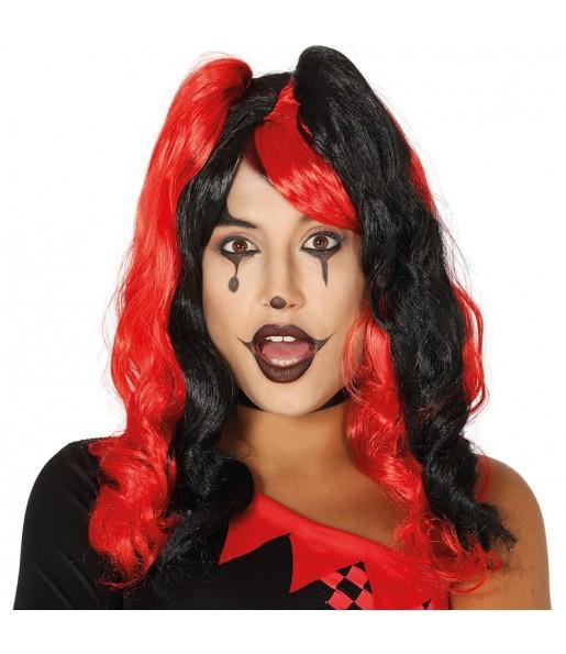 La più divertente Parrucca Arlecchino Rosso e Nero per feste in maschera