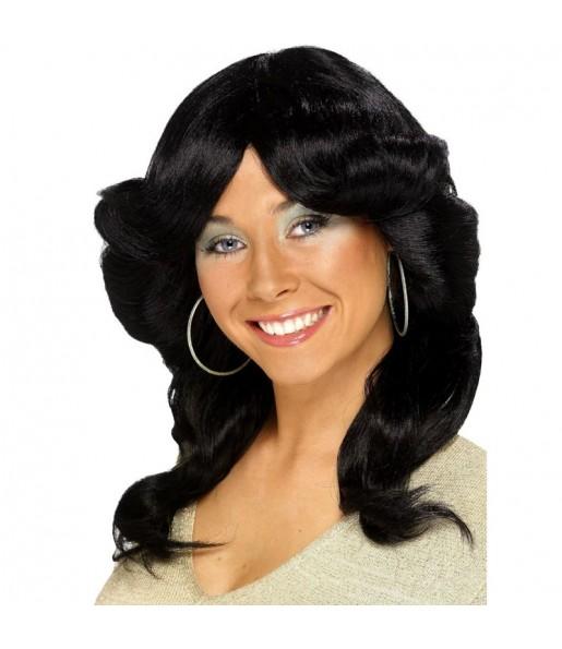 La più divertente Parrucca donna anni '70 nera per feste in maschera