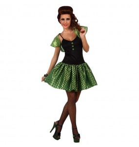 Travestimento anni '60 verde donna per divertirsi e fare festa