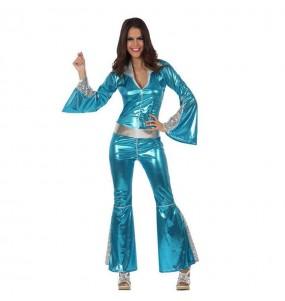 Travestimento Disco Blu donna per divertirsi e fare festa