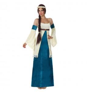 Travestimento Dama del Medioevo Blu donna per divertirsi e fare festa