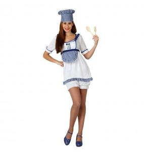 Travestimento Cuoca blu donna per divertirsi e fare festa