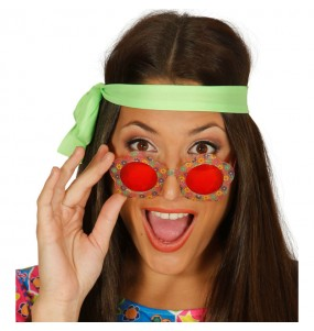 I più divertenti Occhiali fiori hippie per feste in maschera