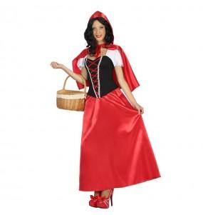 Travestimento Cappuccetto Rosso lungo donna per divertirsi e fare festa