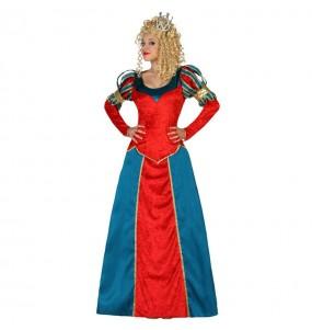 Travestimento Regina medievale deluxe donna per divertirsi e fare festa del Medievo