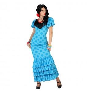 Travestimento Sevillana blu donna per divertirsi e fare festa