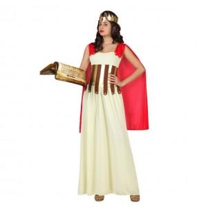 Travestimento Dea Greca mantello rosso donna per divertirsi e fare festa