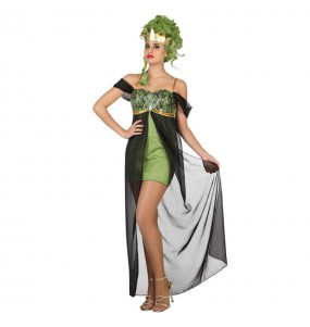 Travestimento Dea Greca verde donna per divertirsi e fare festa