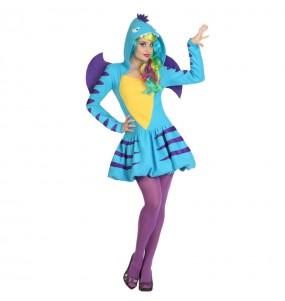 Travestimento Drago Blu donna per divertirsi e fare festa