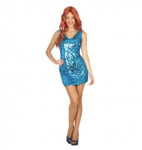 Travestimento Discoteca con paillettes blu donna per divertirsi e fare festa