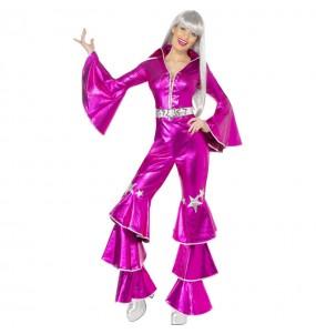 Travestimento Disco Dancing Rosa donna per divertirsi e fare festa