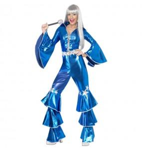Travestimento Disco Dancing Blu donna per divertirsi e fare festa