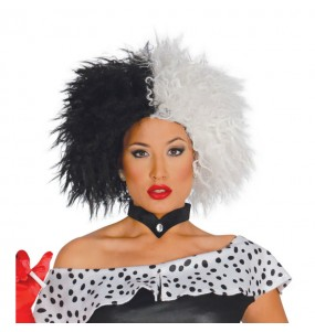 La più divertente Parrucca Cruella corta per feste in maschera