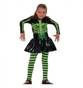 Vestito Scheletro Fluorescente bambine per una festa ad Halloween