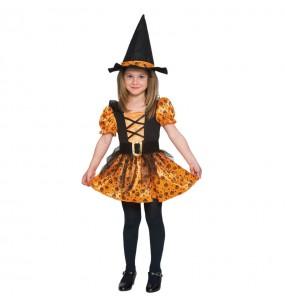 Vestito Strega Arancione bambine per una festa ad Halloween