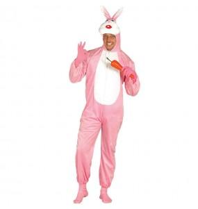 Travestimento Coniglio rosa adulti per una serata in maschera