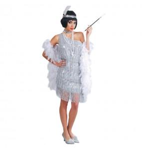 Travestimento Charleston argento donna per divertirsi e fare festa
