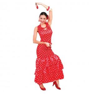 Travestimento flamenca a pois rosso donna per divertirsi e fare festa