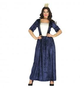 Travestimento Dama medievale blu donna per divertirsi e fare festa del Medievo
